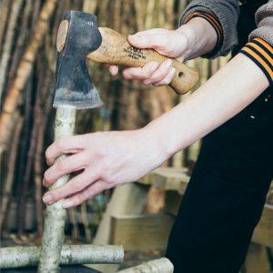 the hazel stick is split in 2 using Granfors Bruk Axe. The split hazel stick forms part of the bundle that makes up a Pimp. The Pimp is a traditional craft or Heritage craft & is used as firelighters or as a grand fireside ornament.
