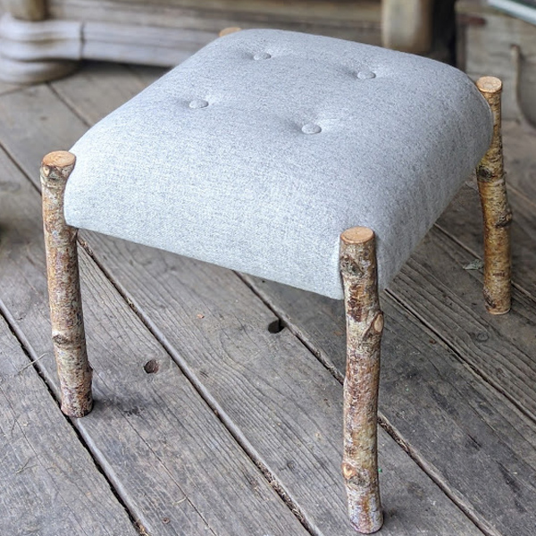 handmade footstool birch wood frame upholstered with water grey wool
